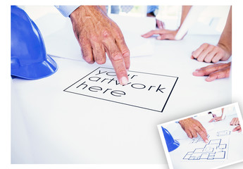 Workers with Blueprint Mockup 1