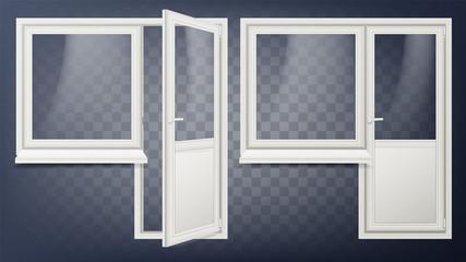 Plastic Door Vector. Home Interior Door And Window. Opened And Closed. Plastic Glass Door. Energy Saving. Isolated Illustration