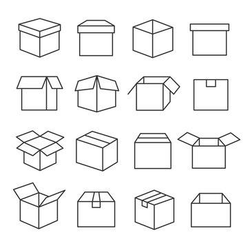 Carton boxes icon set
