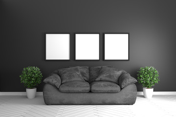 Black room interior - modern tropical style concept with black sofa and plants in white floor on black wall ground. 3d rendering
