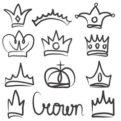 Hand drawn crowns logo and icon  design set collection