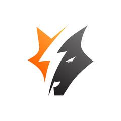 Thunder Wolf Logo Vector