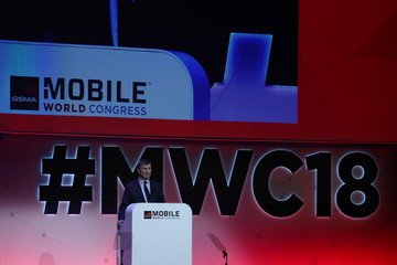 Andrus Ansip delivers a keynote speech at the Mobile World Congress in Barcelona