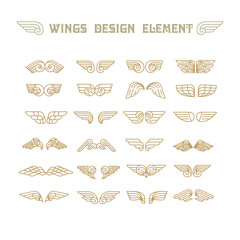 Hand Drawn Wings. Set of design elements. Vector illustration.