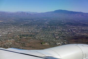 Anflug auf Tucson, Arizona, USA