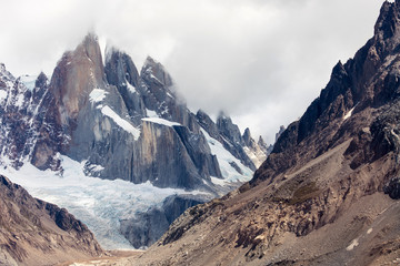 A close up view of the 3 spires of Cerro Torre