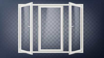 Plastic Door Vector. Plastic Door Frame. Opened Store Door. Building Facade. Energy Saving. Isolated On Transparent Background Illustration