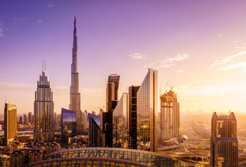 Spoed Fotobehang Dubai Dubai downtown skyline
