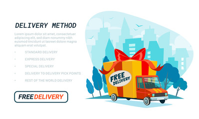 Free delivery template. Delivery truck with gift box, parcel. Delivery service Shipping by car or truck. Flat style design truck on Urban landscape. Blue city silhouette background