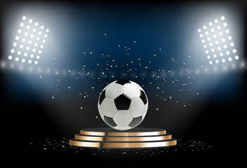 Round podium with soccer ball. Football pedestal for award ceremony. Platform illuminated by spotlights. Vector illustration
