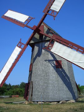Wooden windmill with white wings on Nantucket, New England, Massachusetts, USA