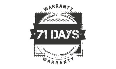 71 days warranty icon vintage rubber stamp guarantee