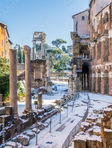 Snow In Rome Picturesque Sight Near The Theatre Of Marcellus