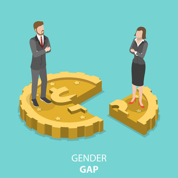 Gender gap flat isometric vector concept. Man and woman are standing on the parts of the one coin. Mans part is bigger than womens one.