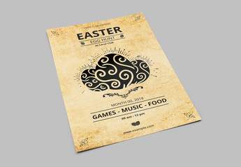 Easter Egg Hunt Flyer with Decorative Eggs