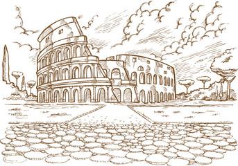 colosseum hand draw