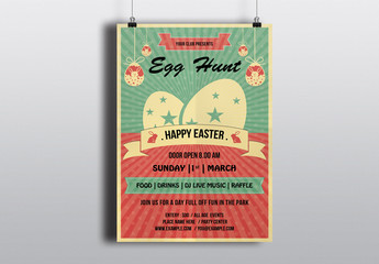 Easter Egg Hunt Flyer with Decorative Eggs and Sunburst Background