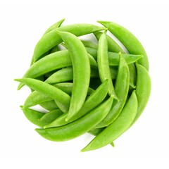 Pile of fresh snap peas. Above view isolated on a white background.
