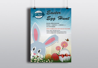 Easter Egg Hunt Flyer with Bunny Graphic