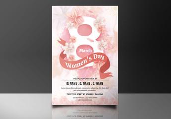 International Women's Day Flyer with Peach Flowers