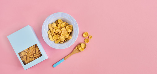 Cereals on pink background
