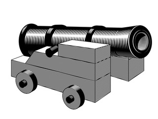 cannon, ancient gun vector illustration