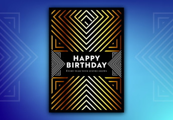 Gold Chevron Birthday Card Layout 1