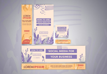 Floral Silhouette Web Banner Layout Set 1