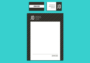 Black on Gray Business Letterhead Layout Set