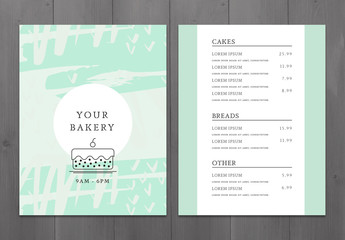Teal Bakery Menu Layout 1