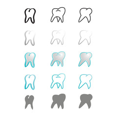 design element set symbol teeth icon stomatology theme