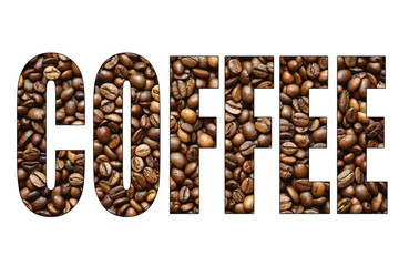 concept coffee word of coffee beans