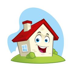 Vector illustration of a funny house, cartoon style