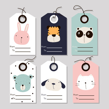 Set of cute kids tags for gifts or other. Vector hand drawn illustration.