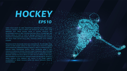 Hockey from the particles. The hockey player consists of dots and circles. Blue hockey on a dark background.