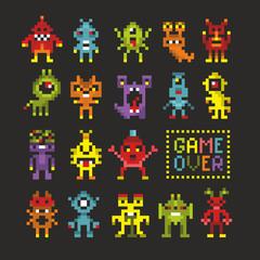 Lamas personalizadas infantiles con tu foto Cool set of 8 bit monsters.