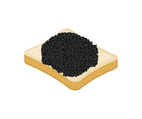 Sandwich with black Fish caviar isolated. Vector illustration