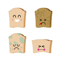 Piece of bread set of emoji. Sad bread with mold. Dry spoiled food.