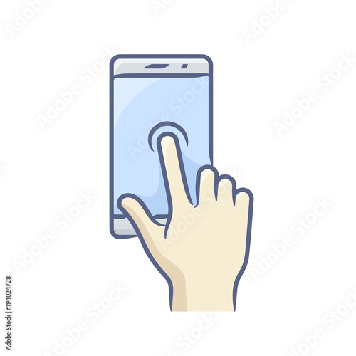 touch screen hand gesture point finger touching vector icon stock