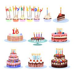 Birthday cakes set.