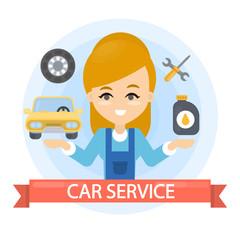 Car service woman.