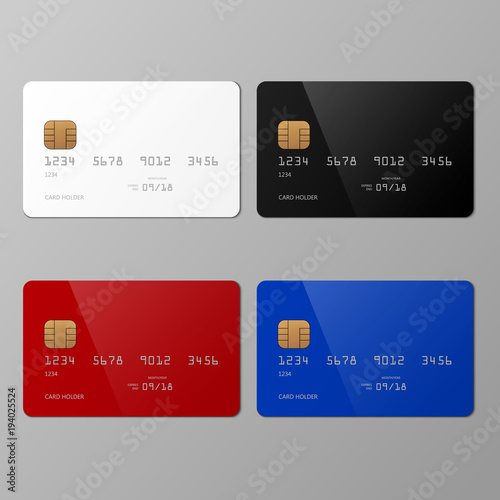 """Realistic White, Black, Red And Blue Credit Card Mockup"