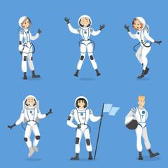 Astronauts people set.