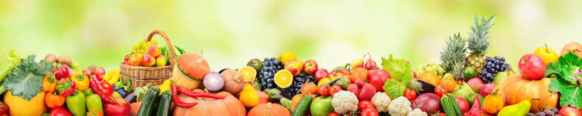 Panorama fruits and vegetables on background green blurred background with beautiful bokeh.