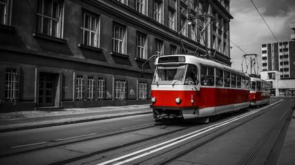 Tram moves around the city
