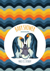Vector illustration of a happy pair of emperor penguins and their baby, baby bird just hatched, having a baby, being a parent, having a baby shower, invitation or greeting card design