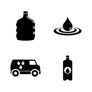 Bottled Water Delivery. Simple Related Vector Icons Set for Video, Mobile Apps, Web Sites, Print Projects and Your Design. Black Flat Illustration on White Background.