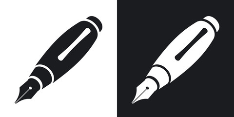 Vector ink pen icon. Two-tone version on black and white background