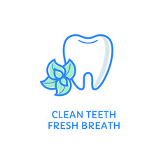Tooth with mint. Clean teeth - fresh breath label. Dental icon. Dental care and hygiene symbol isolated on white. Flat line style logotype. Dentistry logo. Stomatology emblem.
