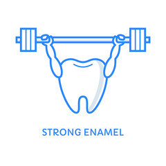 Tooth holding a heavy barbell above his head. Dental care icon. Healthy teeth. Strong enamel illustration. Dentistry label. Stomatology illustration.